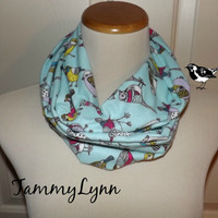 Girls Winter Blue Multi Color Song Birds Cotton Flannel Floral Infinity Scarf Lightweight Double Loop Scarf Girl's Accessories