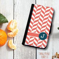 Coral Pattern Customizable Wallet Phone Case. iPhone 4//4s or 5//5s. Samsung Galaxy S3 or S4.
