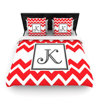 "KESS Original ""Monogram Chevron Red"" Woven Duvet Cover"