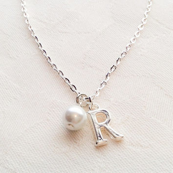 Custom Necklace Initial Letter Necklace Bridesmaid Necklace Bridesmaid Jewelry Necklace White Pearl Necklace Wedding