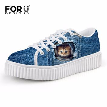 FORUDESIGNS Fashion Flats Shoes Cute Cat Blue Denim Platform Shoes for Female Casual Creepers Shoes