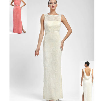 Sue Wong W5162 Ivory Floral Embroidered Illusion Sleeveless Long Dress Fall 2015