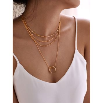 Moon Pendant Layered Chain Necklace Gold