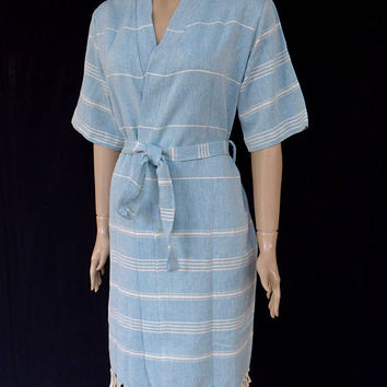 Women's neutral blue colour soft Turkish cotton short sleeved kimono bathrobe, bridesmaid robe, dressing gown, spa robe, beach robe.