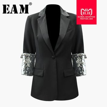 [EAM] 2018 New Autumn Winter Lapel Three-quarter Sleeve Sequin Stitch Loose Back Handsome Jacket Women Coat Fashion Tide JI474
