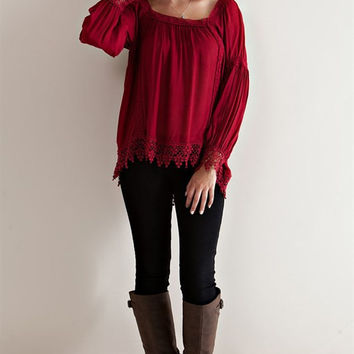 Square Neck Peasant Blouse - Burgundy