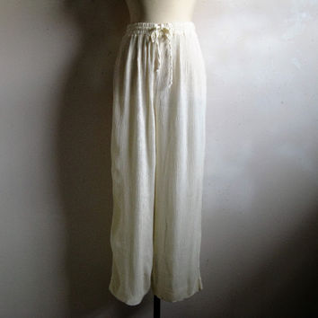 Vintage 80s Nipon Pants 1980s Off White Crinkle Baggy Pants Large