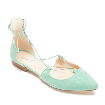 Dreamy Lace Up Flats in Mint