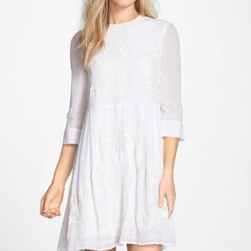 Women's French Connection Embroidered Chiffon Babydoll Dress