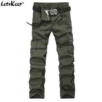 2016 Letskeep army Cargo Pants men casual baggy tactical pants mens cotton army trousers with drawstring 29-38 big size, MA257