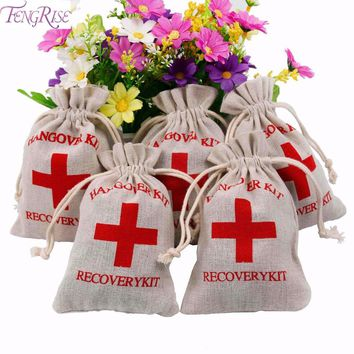 FENGRISE 10pcs Hangover Kit Wedding Favor Bags First Aid gift bags wrapping supplies wedding gift Bachelorette Party Accessories