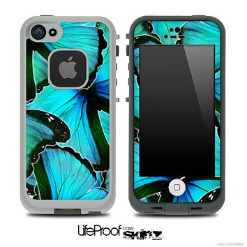 Turquoise Butterfly Bundle V3 Skin for the iPhone 5 or 4/4s LifeProof Case