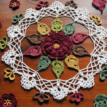 Crochet doily, Autumn leaves, Fall, flower, small lace doilie