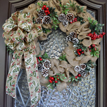Christmas Wreath- Burlap Wreath, Holiday Wreath, pinecones, personalized