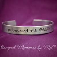 Burdened with Glorious Purpose - Hand Stamped Aluminum Cuff Bracelet - Loki's Army - Tom Hiddleston - The Avengers - Asgardian Jewelry