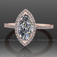 Marquise Moissanite Diamond Engagement Ring, Forever Brilliant Moissanite 14K Rose Gold Wedding Ring RE00169R
