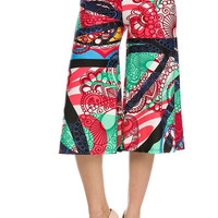 High Waisted Printed Culotte Goucho Pants