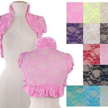 Floral Lace Puff Sleeve Shirred Body Open Bolero Shrug