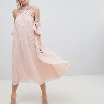 True Decadence Petite Pleated Swing Dress With Cold Shoulder Detail at asos.com