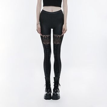 Punk Rave Women's Gothic Skull Embroidered Faux Leather Leggings