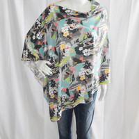 Floral Tropical Birds Poncho/ Nursing, Breastfeeding Cover/ Lightweight Shawl/ Off the Shoulder Boho Top/ New Mom Gift/ Colorful Wrap