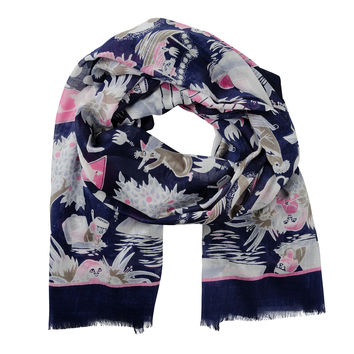 Moomin Midsummer dark blue scarf by Lasessor
