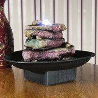 Rock Garden Electric Tabletop Water Founain with LED Lights