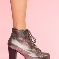 Lita Platform Boot - Pewter in Shoes at Nasty Gal