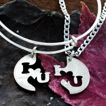 I love you bracelet and necklace, Charm bangle, relationship set by Namecoins