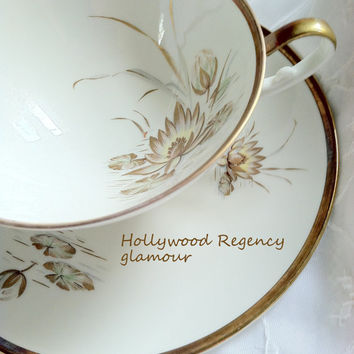 Mid Century Alboth & Kaiser Seerose Pattern Bavaria/Germany Tea Cup and Saucer/Hollywood Regency/Mad Men - Ca. 1938 - 1958
