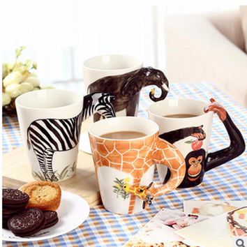 3D Animal Shape Hand Painted Mug