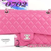 "d8575 Auth CHANEL Pink Lambskin Leather 10"" Double Flap Chain Shoulder Bag GHW"