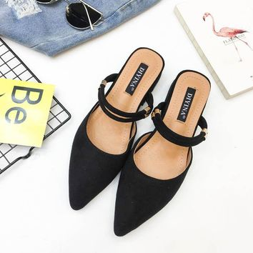 Women Summer Fashion Pointed Toe Low Heel Slingback Slippers Court Sandals Shoes
