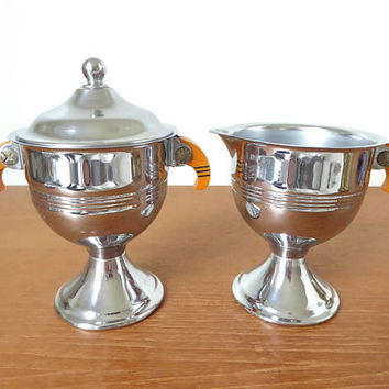 Art deco bakelite and chrome sugar bowl and creamer set with minimal wear