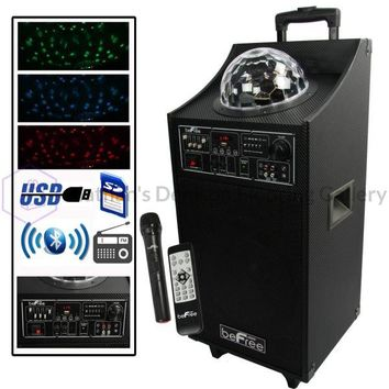 beFree Sound Projection Party Light  Dome 10 Inch Subwoofer Bluetooth Portable Party Speaker with USB/ SD Input, FM Radio, Remote Control and  Microphone