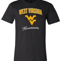 NCAA West Virginia University Mountaineers WVU Navy Canvas Unisex T-Shirt - SC18wv-c
