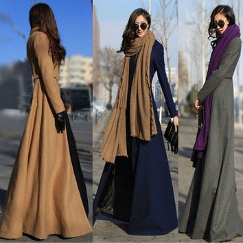 Qiu dong big yards of European and American fashion cultivate one's morality split super long wool woolen cloth coat dust coat