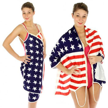American Flag Magic Strapped Beach Wrap One Size Fits Reg and Plus Sizes