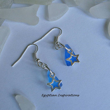 Blue beach glass earrings. Sea glass jewelry. Seaglass earrings.