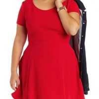 Plus Size Red Short Sleeve Skater Dress by Charlotte Russe