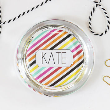 Personalized Office Supplies Custom Glass Paperweight Office Gift Dorm Room Accessories Office Decor Graduation Gifts Colorful Stripes Desk