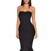 Black Strapless Mermaid Flared Bandage Dress
