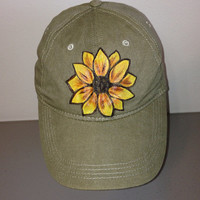 Baseball Cap with Hand Painted Sunflower