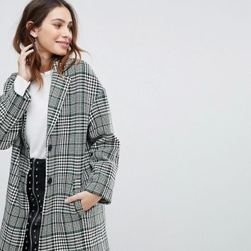 Stradivarius Premium Check Tailored Coat at asos.com