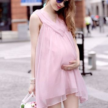 New Women Maternity Dresses for Pregnant Women Loose Clothing Maternity Fashion Pink Chiffon Dress Mother Clothes Q2