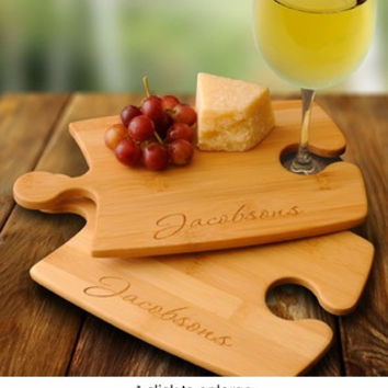 Set of Two Personalized Bamboo Puzzle Cutting Boards.  Beautiful!