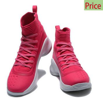 2018 Discount New Mens Under Armour Curry 4 Mid Basketball Shoes Pink White sneaker