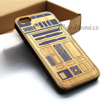 Wood print Starwar R2D2 case, Real wood, iPhone 5C case, iPhone 5S 5 case, Bamboo, Cherry wood, Sapele wood, FREE screen protector [A04]