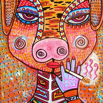 Pig Goddess Smoking  SILBERZWEIG ORIGINAL by SandraSilberzweigArt