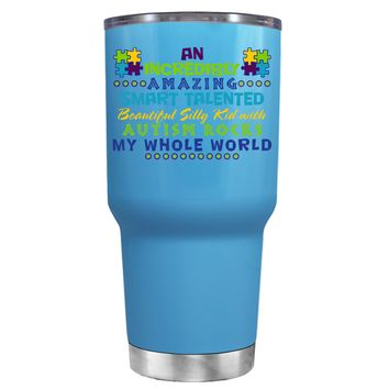 TREK An Amazing Smart Talented Kid with Autism on Baby Blue 30 oz Tumbler Cup